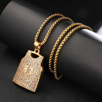 Bulls Legend Number 23 14k Gold Over Stainless Steel Hip Hop Jersey Pendant Chain Necklace