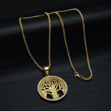 Bling Iced Out Micro Pave Tree of Life 14k Gold Stainless Steel Pendant Chain Necklace