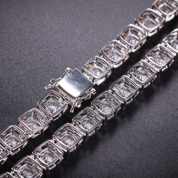 Paved AAA Lab Diamond Iced Out 1 Row Star .925 Silver Studded Hip Hop Chain Necklace
