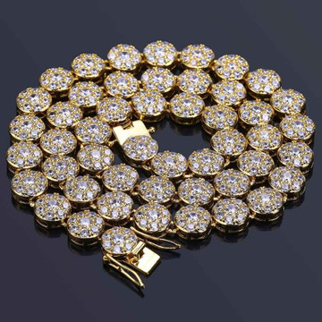 Iced Out Cluster Stone 14k Gold Chain