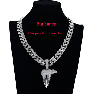 Hip Hop Full AAA Lab Diamond Micro Pave Stone Polar Bear Iceberg Pendant Chain Necklace