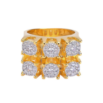 Lab Diamond Micro Pave AAA Stone 14k Gold Six Shooter Iced Out Ring