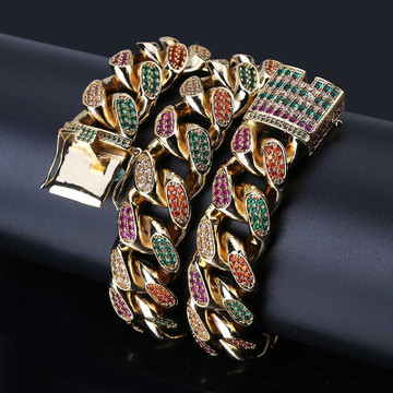 18mm Big Wide 4 Colors AAA Micro Pave 14k Gold .925 Silver Miami Cuban Link Chain Necklace