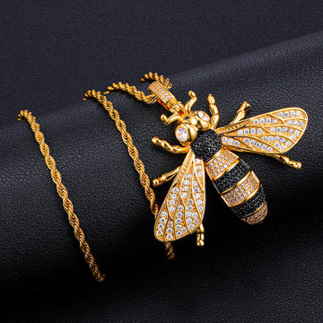 18k Gold 925 Silver Micro Pave Killer Bee Pendant Chain Necklace
