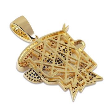 Bling Bling 14k Gold Lab Diamond Micro Pave Dexter Hip Hop Pendant Chain Necklace