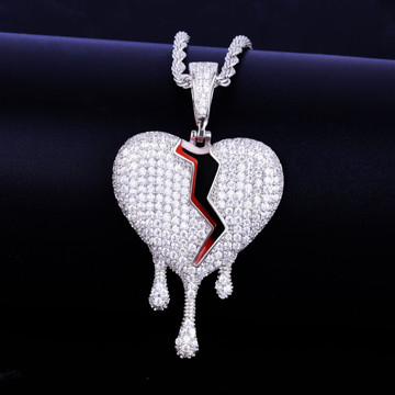 Red Oil Drip Broken Heart Lab Diamond Hip Hop Pendant Chain Necklace