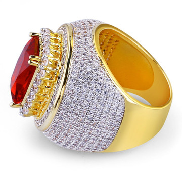 Hip Hop Classic 14k Gold Micro Pave Red Ruby Stone Ring