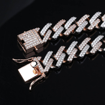 Micro Pave Flooded Ice 14mm Miami Cuban Link Rose Gold Silver Hip Hop Chain Necklace