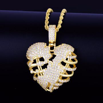 Gold 1 Skeleton Heart Chain