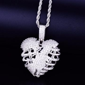 Silver Skeleton Heart Pendant