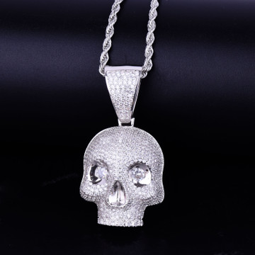 Micro Pave Diamond Eye Skull Head Skull 14k Gold Silver Hip Hop Pendant Chain Necklace