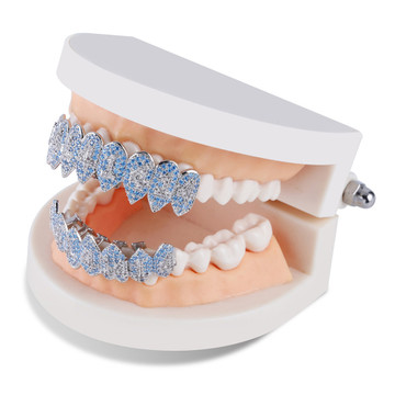 1414 Hip Hop Silver Fangs Teeth Grillz Top Bottom Mouth Grills