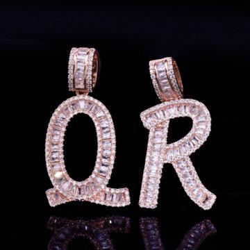 Lab Diamond Micro Pave 14k  Rose Gold Silver Baguette Initials Letters Hip Hop Pendant Chain Necklace