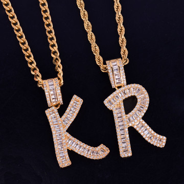 Lab Diamond Micro Pave 14k  Rose Gold Silver Baguette Initials Letters Hip Hop Pendant Chain Necklace