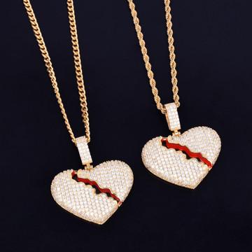 Broken Heart .925 Silver 14k Gold Red Oil Bling Pendant