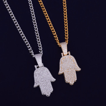 Hamsa Hand 14k Gold Silver AAA Micro Pave Stone Bling Iced Pendant Chain Necklace