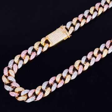 20mm Heavy Tri Color 14k Gold Silver Rose Micro Pave Miami Cuban Link Chain Necklace