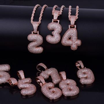 Hip Hop Rose 24k Gold .925 Silver Custom Number Lab Diamond Micro Pave Pendant Chain