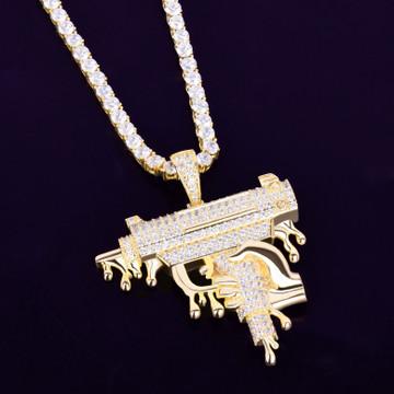 18k Rose Gold .925 Silver Hand Holding Dripping Uzi Machine Gun Hip Hop Micro Pave Pendant