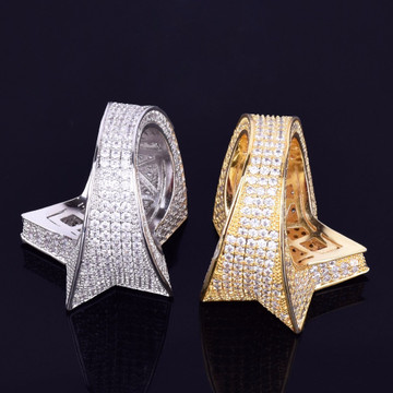 18k Gold .925 Silver 5 Star Hip Hop Mens Rings