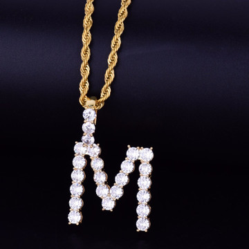 18k Gold AAA Stone Letter Tennis Letter Chain Necklace