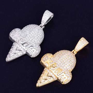 Silver Gold Cream Cone Hip Hop Pendants