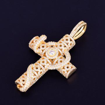 18k Gold Rose Gold .925 Silver Snake Serpent Good Vs Evil Cross Pendant Chain