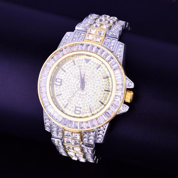 Iced Gold Silver Baguette Bling Watch