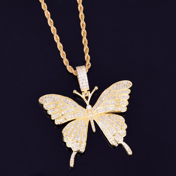 Rose Gold 14k .925 Silver Lab Diamond Micro Pave Beautiful Butterfly Chain Necklace