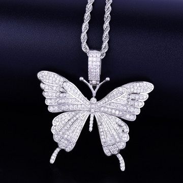 Silver Micro Pave Beautiful Butterfly Chain Necklace