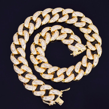 Gold Bling Bling Baguette Cuban Chain
