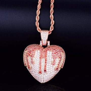 Blood Overflowing Heart AAA Micro Pave Hip Hop Pendant Chain Necklace