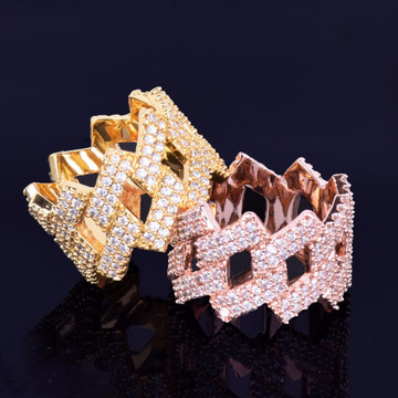 Hip Hop Cuban Link AAA Micro Pave 14k Gold Silver Rose Gold Micro Pave Ring