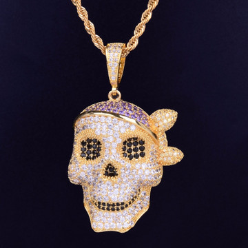 AAA Micro Pave Skull Pirate Hip Hop 18k Gold .925 Silver Bling Pendant Chain Necklace