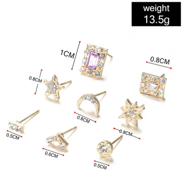 Ladies 14 Piece Fashion Gold Sun Moon Crystal Stud Earring Set