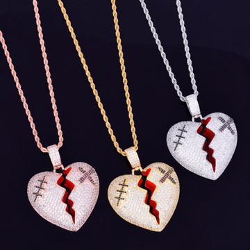 Iced Rose Gold Micro Pave Red Oil Broken Heart Hip Hop Pendant Chain Necklace