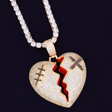 Iced 18k .925 Silver Rose Gold Micro Pave Red Oil Broken Heart Hip Hop Pendant Chain Necklace