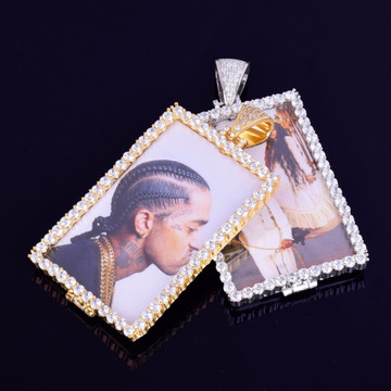 14k Rose Gold .925 Silver Micro Pave Lab Diamond Custom Square Photo Pendant Chain Necklace
