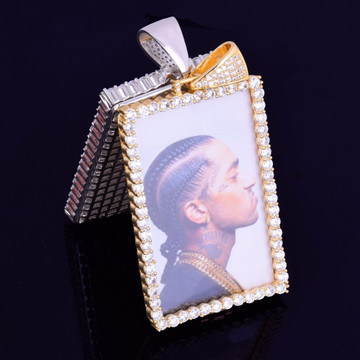 18k Rose Gold .925 Silver Micro Pave Lab Diamond Custom Square Photo Pendant Chain Necklace