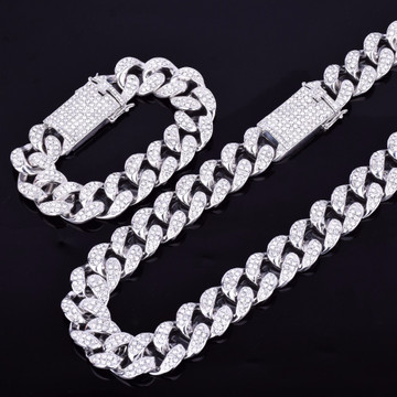 Silver Bling Cuban Link chain Bracelet Set