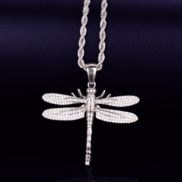 Dragonfly Mosquito Hawk Hip Hop Micro Pave Stone Bling Pendant Chain Necklace