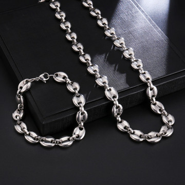 Silver Over Stainless Steel No Fade Coffee Bean Chain Necklace Set