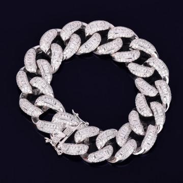 .925 Silver AAA Baguette Simulate Diamond Hip Hop Bracelet