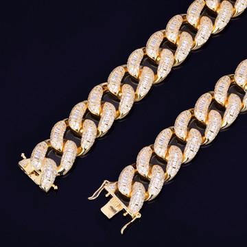 22mm Baguette AAA Flooded Ice Miami Cuban Link Hip Hop Street Rock Bracelet