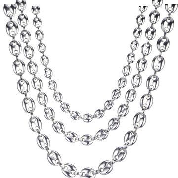 Silver Titanium Stainless Steel G Link Coffee Bean Chain Necklace