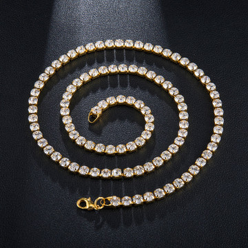 Hip Hop 5MM 24 Inch Bling All Ice Lab Diamond Tennis Chain Necklace