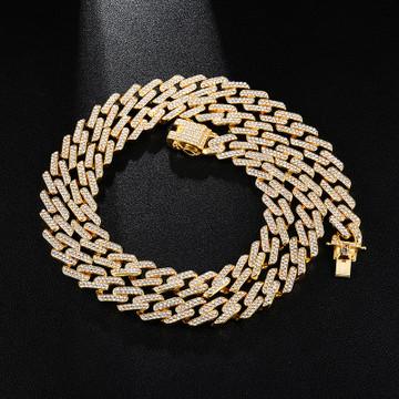 Hip Hop 13MM Bling Iced Miami Cuban Full AAA Pave Simulate Diamond Chain Bracelet Set