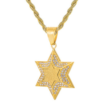 Star of David Bling AAA Simulate Diamond 14k Gold Stainless Steel Pendant Chain Necklace