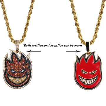 Spitfire Flame Demon Rap Bar Spitter 14k Gold AAA Micro Pave Flooded Ice Pendant