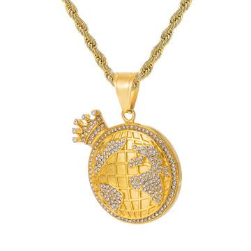 Hip Hop King Of The World Earth Crown AAA Simulate Diamond 14k Gold Pendant